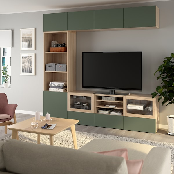 BESTÅ TV storage combination/glass doors white stained oak effect/Notviken grey-green clear glass 240 cm 42 cm 230 cm