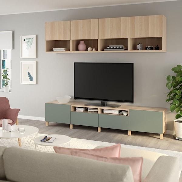 BESTÅ TV storage combination, white stained oak effect Lappviken/Notviken/Stubbarp grey-green, 240x42x230 cm