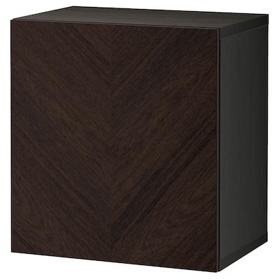 BESTÅ Wall-mounted cabinet combination, black-brown Hedeviken/dark brown stained oak veneer, 60x42x64 cm