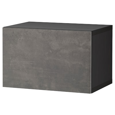 BESTÅ Wall-mounted cabinet combination, black-brown/Kallviken dark grey, 60x42x38 cm