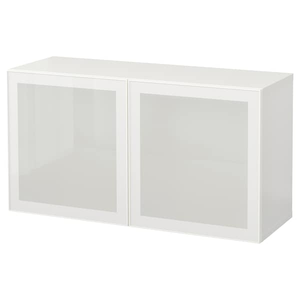 BESTÅ Wall-mounted cabinet combination, white/Glassvik frosted glass, 120x42x64 cm
