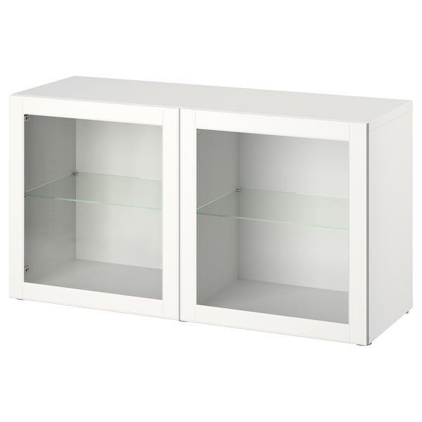 BESTÅ Wall-mounted cabinet combination, white/Ostvik clear glass, 120x42x64 cm
