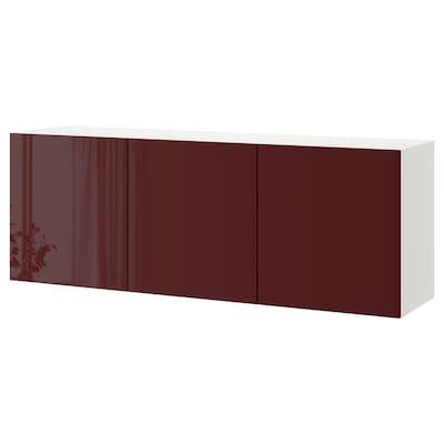 BESTÅ Wall-mounted cabinet combination, white Selsviken/high-gloss dark red-brown, 180x42x64 cm