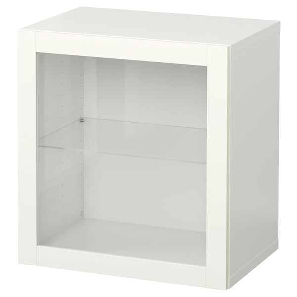 BESTÅ Wall-mounted cabinet combination, white/Sindvik white, 60x42x64 cm