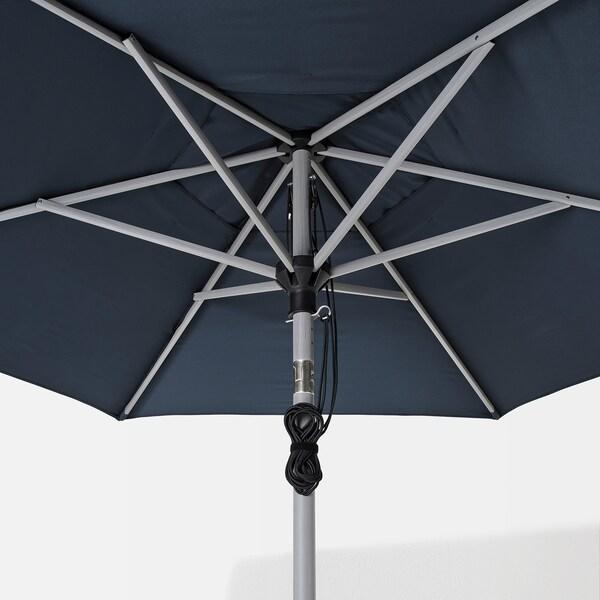 BETSÖ / LINDÖJA Parasol with base, grey wood effect dark blue/Grytö, 300 cm