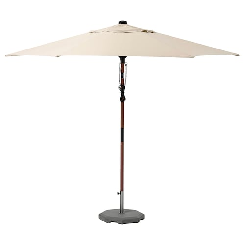 BETSÖ / LINDÖJA parasol with base brown wood effect beige/Huvön 200 g/m² 262 cm 300 cm 48 mm