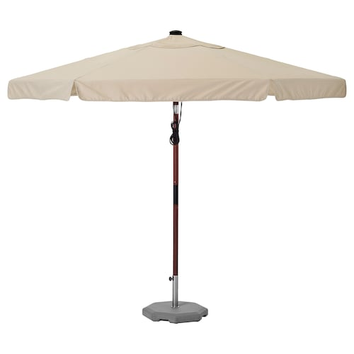 BETSÖ / VÅRHOLMEN parasol with base brown wood effect beige/Huvön 250 g/m² 262 cm 300 cm 48 mm