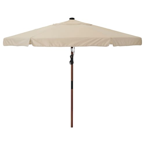 BETSÖ / VÅRHOLMEN parasol brown wood effect/beige 250 g/m² 243 cm 300 cm 48 mm