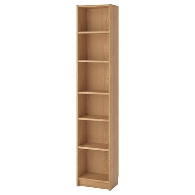 BILLY Bookcase, oak veneer, 40x28x202 cm