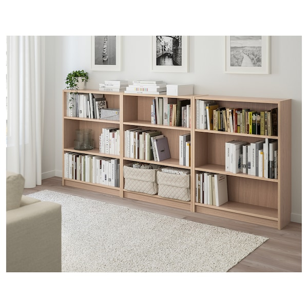 BILLY Bookcase, white stained oak veneer, 240x28x106 cm