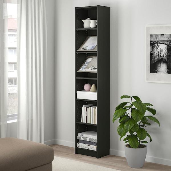 BILLY / BOTTNA Bookcase with display shelf, black-brown/beige, 40x28x202 cm