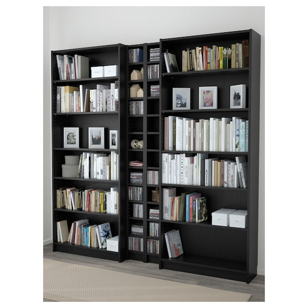 BILLY / GNEDBY Bookcase, black-brown, 200x28x202 cm