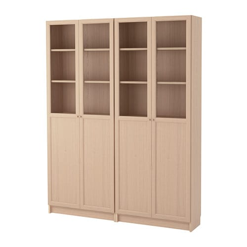 Billyoxberg Bookcase Combination With Doors White Stained Oak