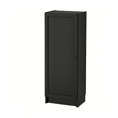 BILLY / OXBERG Bookcase with door, black-brown, 40x30x106 cm