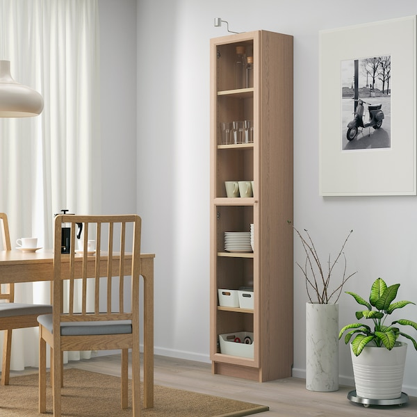 BILLY / OXBERG Bookcase with glass door, white stained oak veneer/glass, 40x30x202 cm
