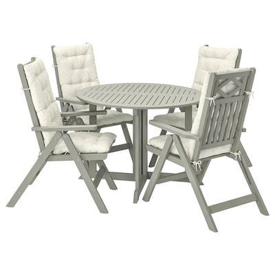 BONDHOLMEN Table+4 reclining chairs, outdoor, grey stained/Kuddarna beige