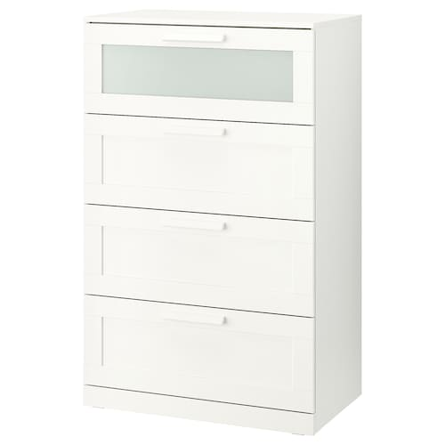 BRIMNES chest of 4 drawers white/frosted glass 78 cm 46 cm 124 cm 70 cm 36 cm