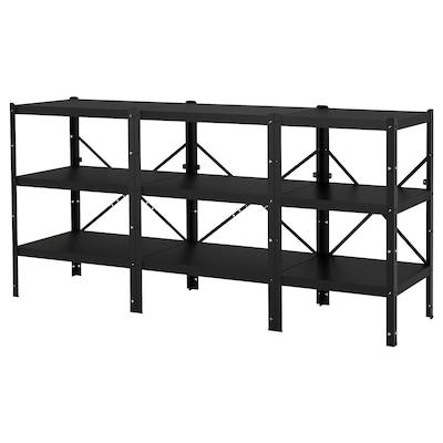 BROR Shelving unit, black, 234x55x110 cm
