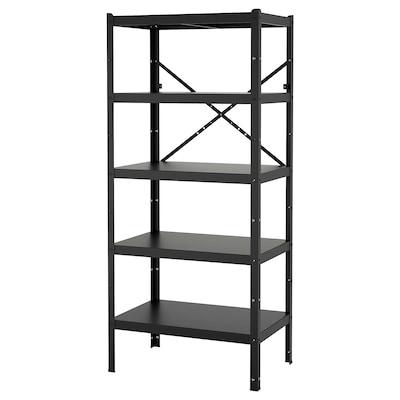 BROR Shelving unit, black, 85x55x190 cm