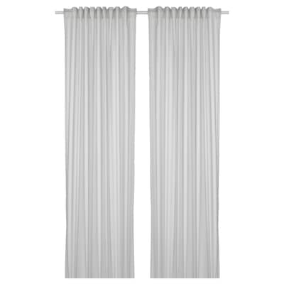 BYMOTT Curtains, 1 pair, white/light grey striped, 120x300 cm