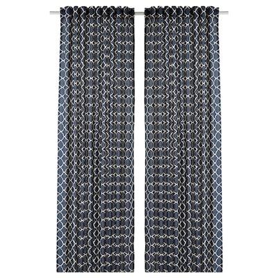 CITRUSTRÄD Curtains, 1 pair, blue/white, 145x300 cm