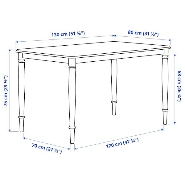 DANDERYD Dining table, oak veneer/white, 130x80 cm