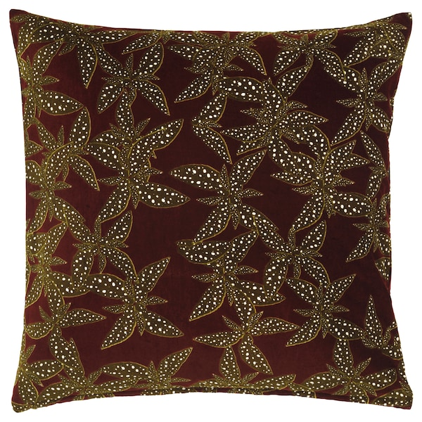 DEKORERA Cushion cover, flower patterned wine red, 50x50 cm