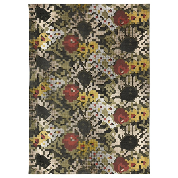 DEKORERA Rug, flatwoven, flower patterned, 160x220 cm