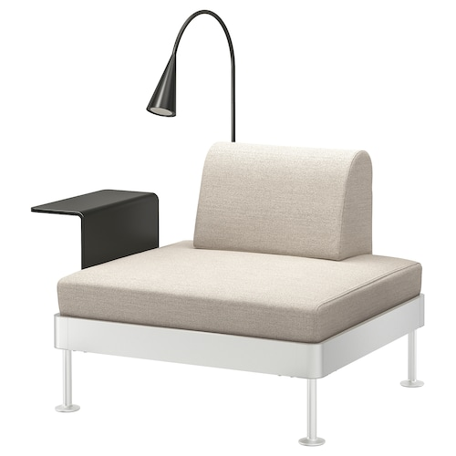DELAKTIG armchair with side table and lamp Gunnared beige 79 cm 114 cm 84 cm 45 cm 20 cm 90 cm 80 cm 45 cm 10 cm 1.9 m 3.4 W