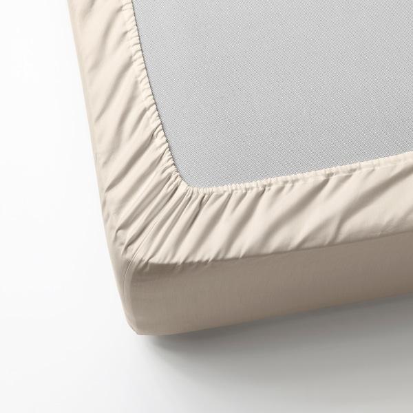 DVALA Fitted sheet, beige, 140x200 cm