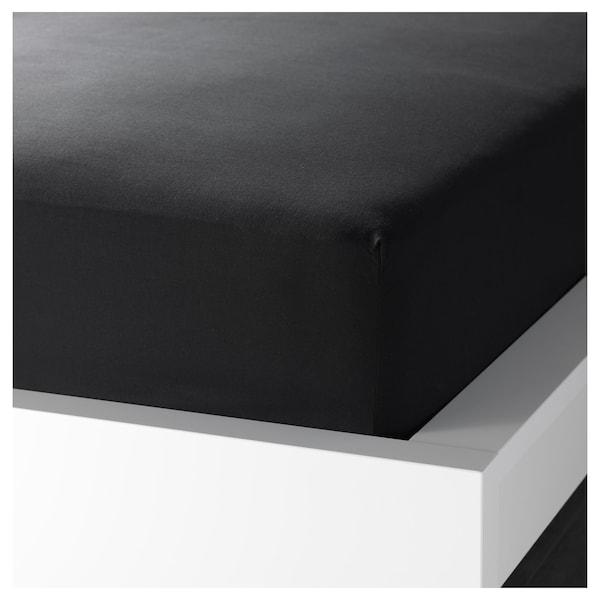 DVALA Fitted sheet, black, 90x200 cm