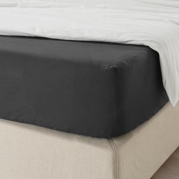 DVALA Fitted sheet, black, 140x200 cm
