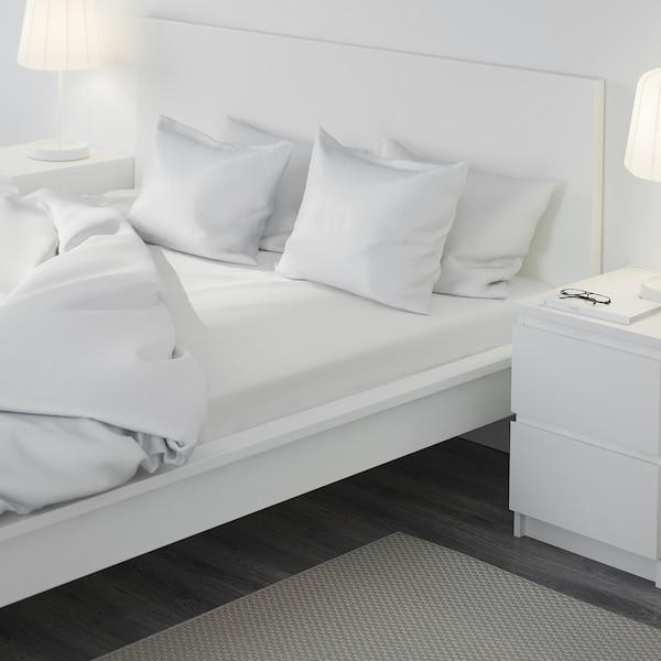 DVALA Fitted sheet, white, 180x200 cm