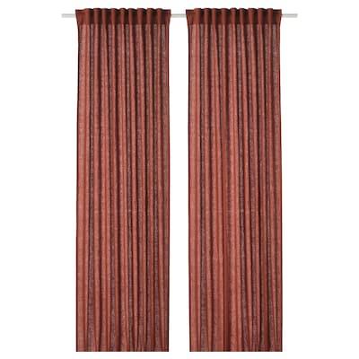 DYTÅG Curtains, 1 pair, red-brown, 145x300 cm