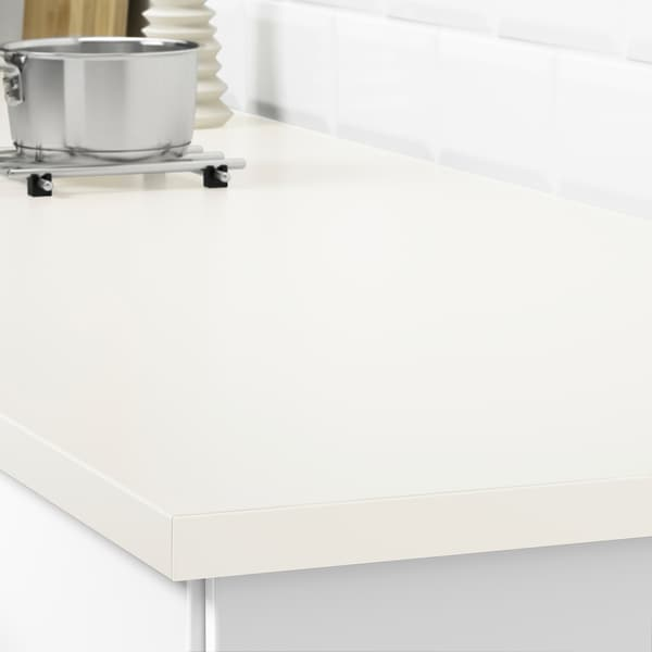 EKBACKEN custom made worktop off-white/laminate 100 cm 10 cm 400 cm 10 cm 45 cm 2.8 cm
