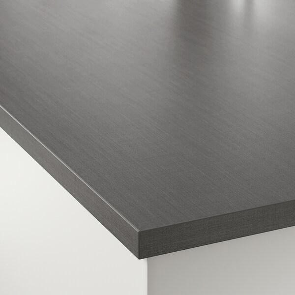 EKBACKEN custom made worktop dark grey linen effect/laminate 100 cm 10 cm 400 cm 10 cm 45 cm 2.8 cm