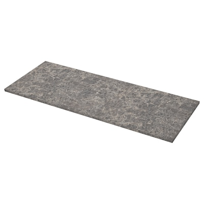 EKBACKEN Worktop, dark grey marble effect/laminate, 186x2.8 cm