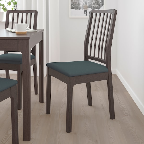EKEDALEN chair dark brown/Idekulla blue 110 kg 43 cm 51 cm 95 cm 43 cm 41 cm 46 cm