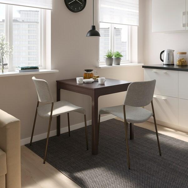 EKEDALEN / UDMUND Table and 2 chairs, dark brown brown/Viarp beige/brown, 80/120 cm