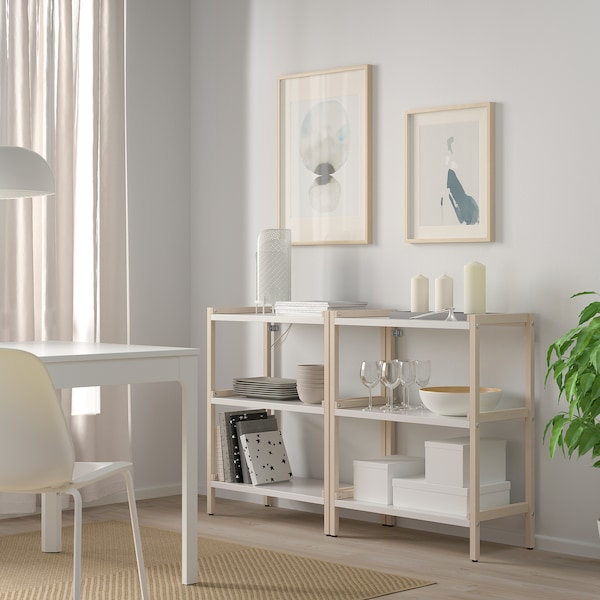 EKENABBEN Open shelving unit, aspen/white, 70x34x86 cm