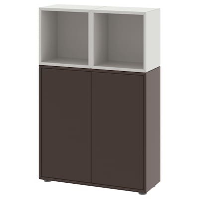 EKET Cabinet combination with feet, dark grey/light grey, 70x25x107 cm