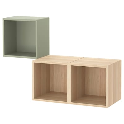 EKET Wall-mounted cabinet combination, light green/white stained oak effect, 105x35x70 cm