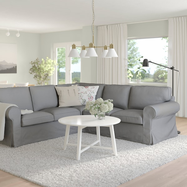 EKTORP Corner sofa, 4-seat, Remmarn light grey