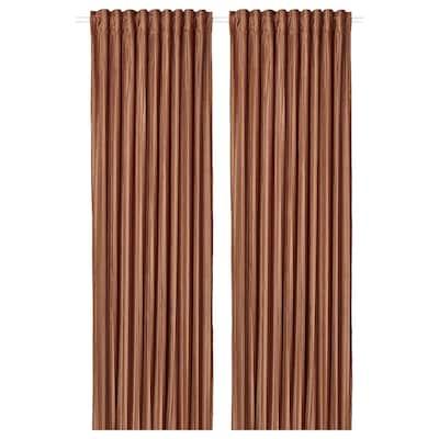 ELDTORN Room darkening curtains, 1 pair, brown, 145x300 cm