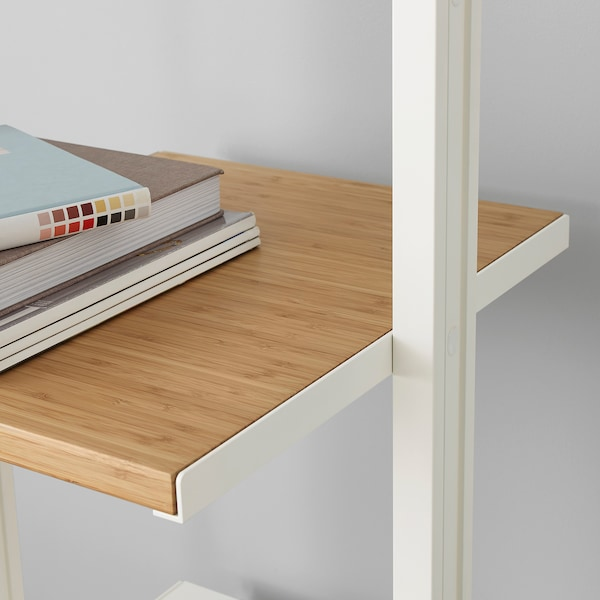 ELVARLI 5 sections, white/bamboo, 385x51x222-350 cm