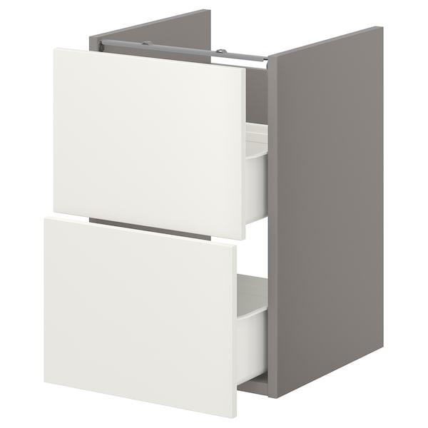 ENHET Base cb f washbasin w 2 drawers, grey/white, 40x40x60 cm