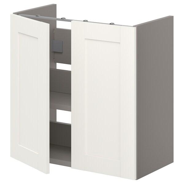 ENHET Bs cb f wb w shlf/doors, grey/white frame, 60x32x60 cm