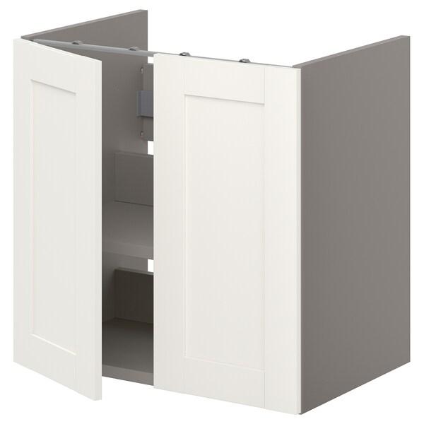 ENHET Bs cb f wb w shlf/doors, grey/white frame, 60x42x60 cm