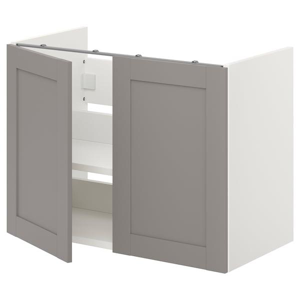 ENHET Bs cb f wb w shlf/doors, white/grey frame, 80x42x60 cm
