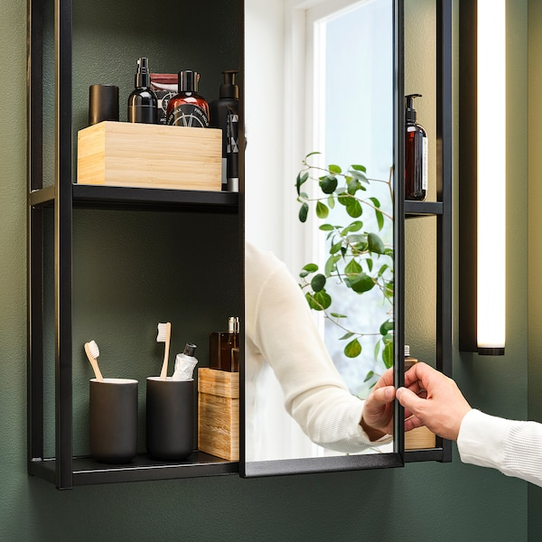 ENHET Hanging mirror f frame, anthracite, 25x4.5x75 cm